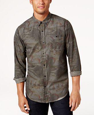 Ezekiel Men's Kyoto Printed Shirt - Casual Button-Down Shirts ...