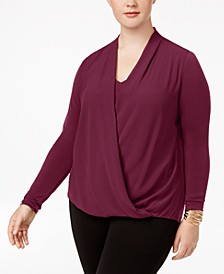 Plus Size Surplice Blouse, Created for Macy's