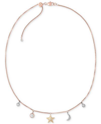 Michael Kors Tri-Tone Stainless Steel Crystal Celestial Charms Choker Necklace