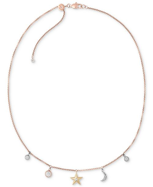 ... Michael Kors Tri-Tone Stainless Steel Crystal Celestial Charms Choker  Necklace ... 8227168e378