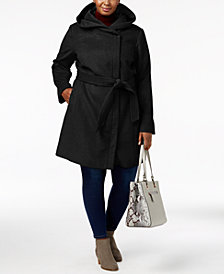 Cole Haan Plus Size Hooded Belted Walker Coat