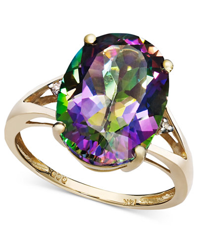 Mystic Topaz 7 1 6 Ct T W And Diamond Accent Oval Ring