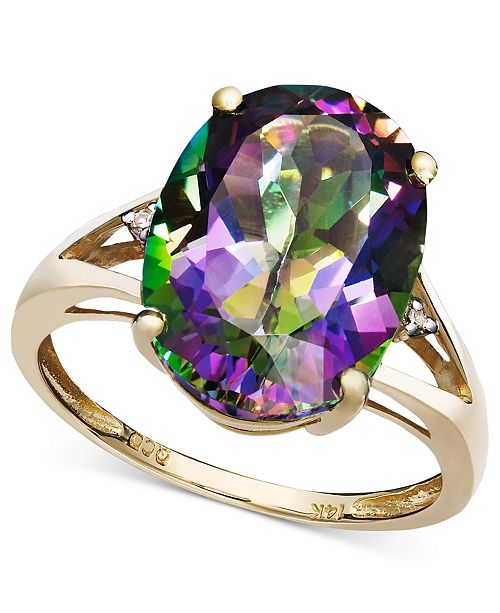 Macy's Mystic Topaz (7-1/6 ct. t.w.) and Diamond Accent Oval Ring in 14k Gold (Also Available in Amethyst, Blue Topaz, & Prasolite)