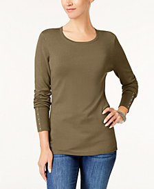JM Collection Petite Rivet-Cuff Sweater, Created for Macy's