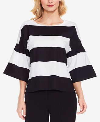 Vince Camuto Striped Wide-Sleeve Top
