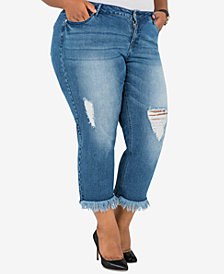 Poetic Justice Trendy Plus Size Ripped Cropped Jeans
