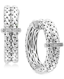 Balissima by EFFY® Diamond Accent Weave-Style Hoop Earrings in Sterling Silver