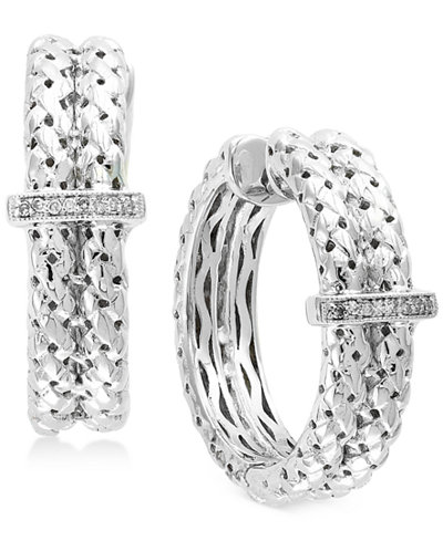 Balissima by EFFY® Diamond Accent Weave-Style Hoop Earrings in Sterling Silver