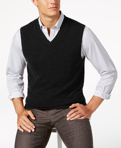 Club Room Men's V-Neck Cashmere Sweater Vest, Created for Macy's ...