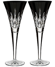 Waterford Lismore Black Toasting Flutes, Set Of 2