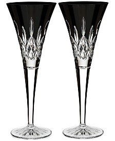 Waterford Lismore Black Toasting Flute Pair