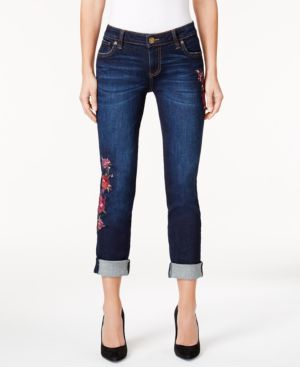 Kut from the Kloth Petite Catherine Embroidered Boyfriend Jeans 4930780