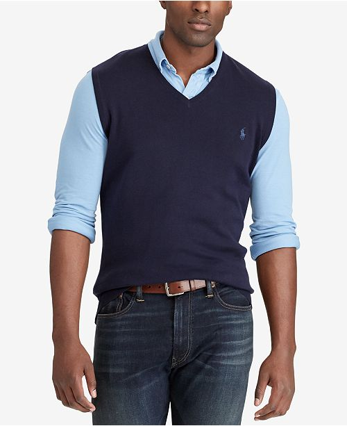 d7a9106098c4a8 Polo Ralph Lauren Men's Big & Tall V-Neck Vest & Reviews - Sweaters ...