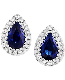 Sapphire (9/10 ct. t.w.) & Diamond (1/8 ct. t.w.) Stud Earrings in 14k White Gold
