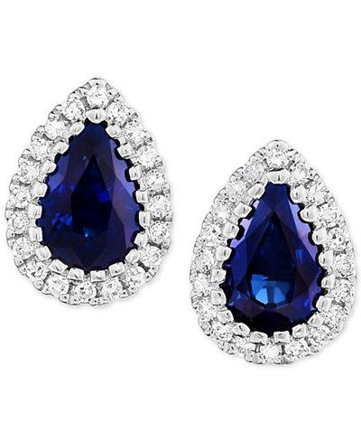 Sapphire (9/10 ct. t.w.) & Diamond (1/8 ct. t.w.) Stud Earrings in 14k White Gold