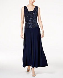 R & M Richards Metallic Sequined Petite A-Line Dress