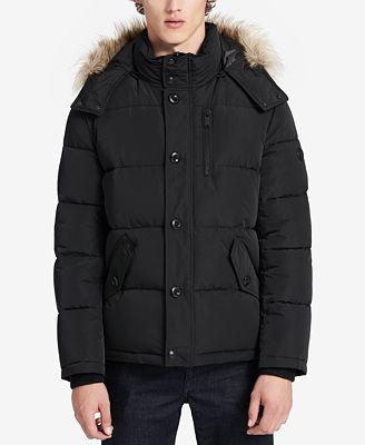 Calvin Klein Men's Faux Fur Hooded Parka - Coats & Jackets - Men ...