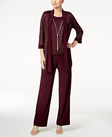 R & M Richards Petite Metallic Pantsuit, Shell & Necklace Set