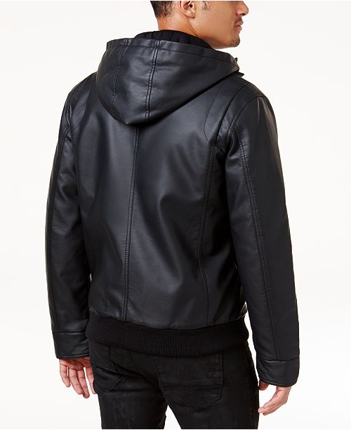 Inc Mens Faux Leather Hooded Bomber Jacket Created For Macys
