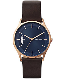 Skagen Men's Holst Brown Leather Strap Watch 40mm