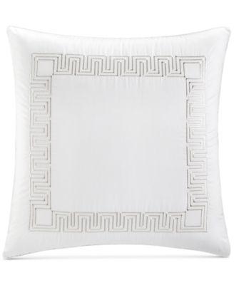 CLOSEOUT! Greek Key Cotton Platinum European Sham, Created for Macy's