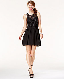Speechless Juniors' Sequined Lace Dress, A Macy's Exclusive