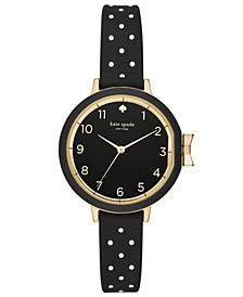 Women's Park Row Black Dot Silicone Strap Watch 34mm