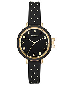 kate spade new york Women's Park Row Black Dot Silicone Strap Watch 34mm