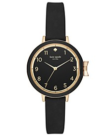 Women's Park Row Black Silicone Strap Watch 34mm