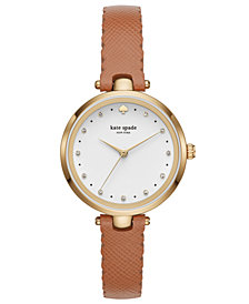 kate spade new york Women's Holland Brown Leather Strap Watch 34mm