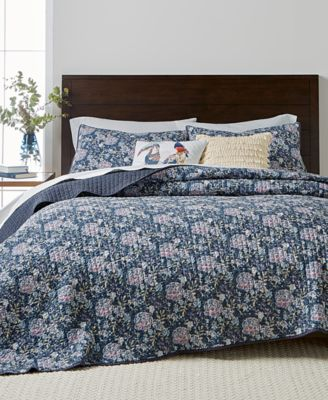 CLOSEOUT! Iridescent Peony Reversible Twin Quilt, Created for Macy's