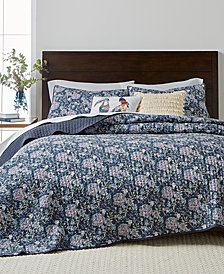 CLOSEOUT! Martha Stewart Collection Iridescent Peony Quilt and Shams Collection Cotton, Created for Macy's