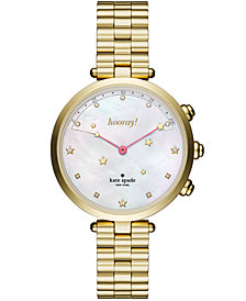 kate spade new york Women's Holland Slim Gold-Tone Stainless Steel Bracelet Hybrid Smart Watch 38mm