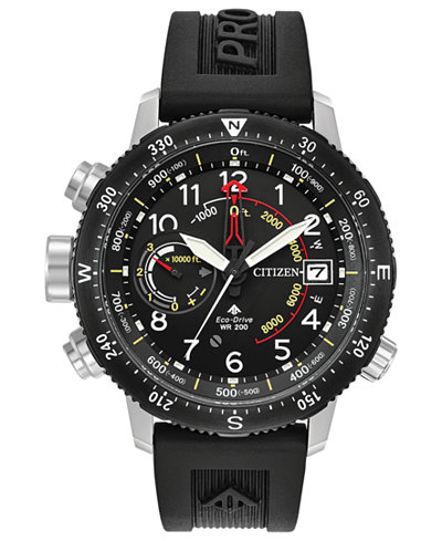 Citizen Eco-Drive Men's Promaster Altichron Black Rubber Strap Watch 46mm