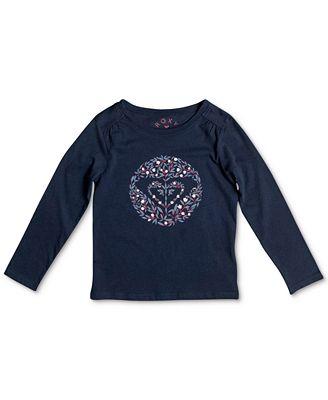 Roxy Floral-Print Logo-Graphic Long-Sleeve Cotton T-Shirt, Toddler & Little Girls