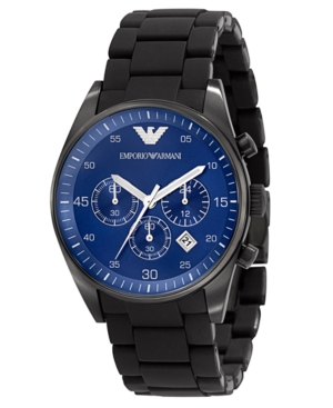 Emporio Armani Men's Chronograph Black Silicone Wrapped Stainless Steel Bracelet Watch AR5921