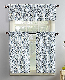 No. 918 Barker 3-Pc. Geometric-Print  Microfiber Rod Pocket Kitchen Curtain Set