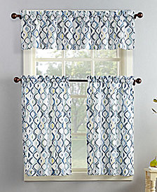 Lichtenberg No. 918 Barker 3-Pc. Geometric-Print  Microfiber Rod Pocket Kitchen Curtain Set