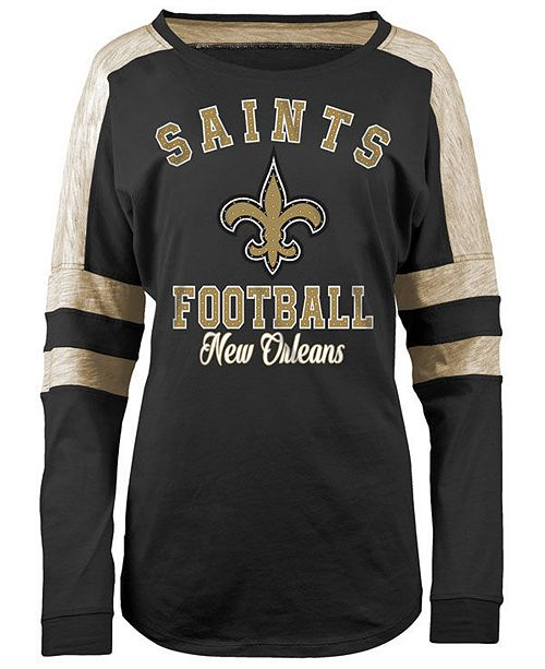 Discount 5th & Ocean Women's New Orleans Saints Space Dye Long Sleeve T Shirt  for cheap