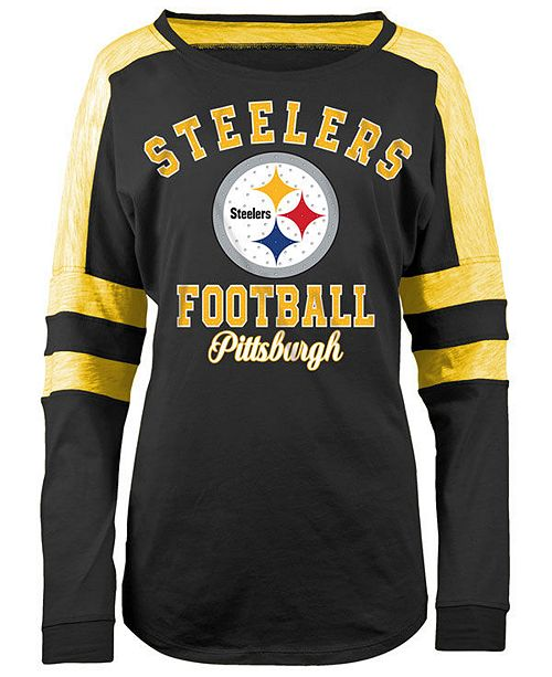 5th & Ocean Women's Pittsburgh Steelers Space Dye Long Sleeve T-Shirt