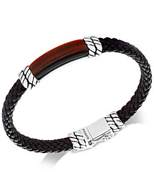 EFFY® Men's Tiger's Eye Brown Leather Bracelet in Sterling Silver