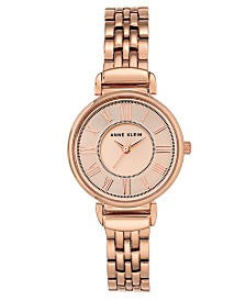 Anne Klein Women's Rose Gold-Tone Bracelet Watch 30mm
