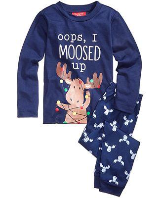 Family Pajamas Moosed Up Pajama Set, Big Boys' or Big Girls' (4-16 ...