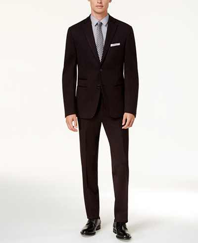 Calvin Klein Men's Slim-Fit Black Knit Suit