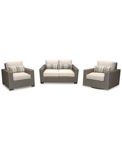Del Mar 3-Pc. Set (1 Loveseat, 1 Club Chair & 1 Swivel Chair), Created for Macy's