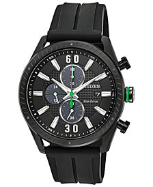 Citizen Drive from Citizen Eco-Drive Men's Chronograph Black Polyurethane Strap Watch 43mm