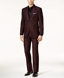 Perry Ellis Men's Slim-Fit Burgundy Tonal Grid Suit