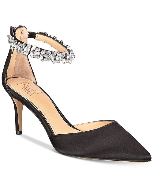1660c5c4906 Jewel Badgley Mischka Audrey Embellished Ankle Strap Evening Pumps ...