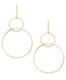"Gold-Tone Extra Large 4"" Interlocking Drop Hoop Earrings, Created for Macy's"