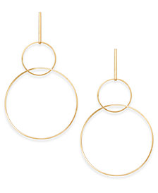 "Thalia Sodi Gold-Tone Extra Large 4"" Interlocking Drop Hoop Earrings, Created for Macy's"